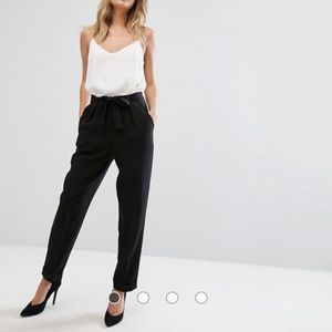 ASOS Tall Woven Peg Pants with Obi Tie in Black